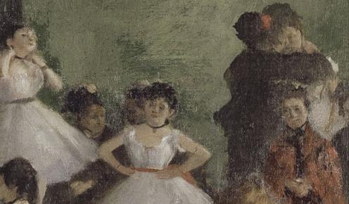 Edgar Degas, The Ballet Class (1871-1874), oil on canvas, w750 x h850 mm, Bequest of Count Isaac de Camondo, 1911, Rights: © RMN (Musée d'Orsay) / Hervé Lewandowski, Image source: wikimedia commons, (detail).