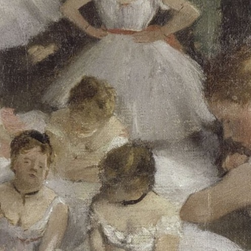 Edgar Degas, The Ballet Class (1871-1874), oil on canvas, w750 x h850 mm, Bequest of Count Isaac de Camondo, 1911, Rights: © RMN (Musée d'Orsay) / Hervé Lewandowski, Image source: wikimedia commons, (detail).