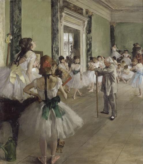 Edgar Degas, The Ballet Class (1871-1874), oil on canvas, w750 x h850 mm, Bequest of Count Isaac de Camondo, 1911, Rights: © RMN (Musée d'Orsay) / Hervé Lewandowski, Image source: wikimedia commons