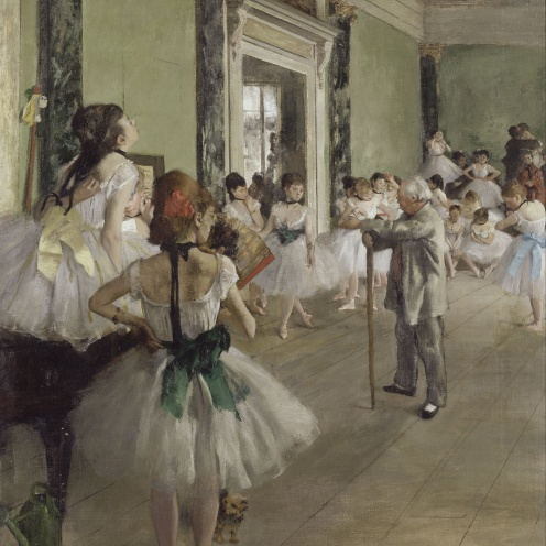 Edgar Degas, The Ballet Class (1871-1874), oil on canvas, w750 x h850 mm, Bequest of Count Isaac de Camondo, 1911, Rights: © RMN (Musée d'Orsay) / Hervé Lewandowski, Image source: wikimedia commons