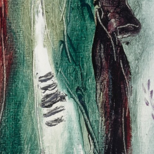 Reuven Rubin, (1893 - 1974), CHASSIDIC DANCERS (1968), Signed Rubin and in Hebrew (lower right), Oil on canvas, 29 by 21 1/4 in., (73.6 by 48.9 cm), Source: Sotheby's, detail
