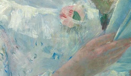 "On a Balcony, 1878/79, Mary Cassatt, American (1844–1926), Oil on canvas, Signed lower left: ""Mary Cassatt"", 89.9 × 65.2 cm (35 1/2 × 25 5/8 in.), Credit Line: Gift of Mrs. Albert J. Beveridge in memory of her aunt, Delia Spencer Field, Source: (Art Institute of Chicago), detail"
