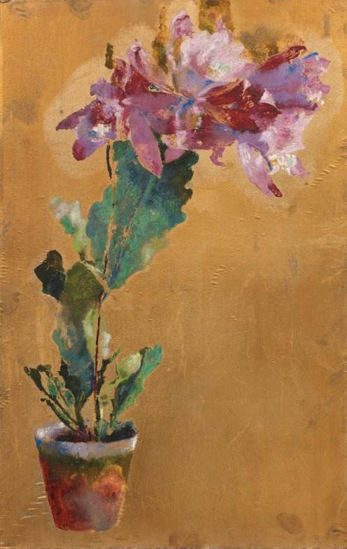 Augusto Giacometti, (1877-1947), FLOWER POT WITH CATTLEYA, 1923, Monogrammed lower left; inscribed on the reverse signed and dated, Oil on gold foil, 54.5 x 34.5 cm, Source: Sotheby's, Link: http://www.sothebys.com/en/auctions/ecatalogue/2014/schweizer-kunst-swiss-art-zh1506/lot.60.html?locale=en