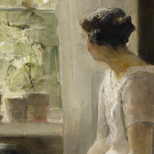 Carl Holsøe, (1863 - 1935), DANISH, INTERIOR, LIGHT OF SPRING, signed C. Holsöe (lower right), oil on canvas, 26 1/8 by 20 5/8 in., 66.4 by 52.4 cm, Source: Sotheby's (detail).