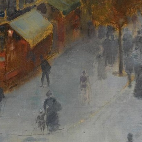 Charles Leroy Saint Aubert, (1852-1907, FRENCH), AU DESSUS DU BOULEVARD DE SEBASTOPOL, PARIS, signed Leroy. Saint. Aubert. lower right, oil on canvas, 73 by 88.5cm., 28¾ by 34¾in., Source: Sotheby's, Link: http://www.sothebys.com/en/auctions/ecatalogue/lot.143.html/2009/19th-century-european-paintings-including-german-austrian-central-european-paintings-the-orientalist-sale-spanish-painting-and-the-scandinavian-sale-l09661, (detail)
