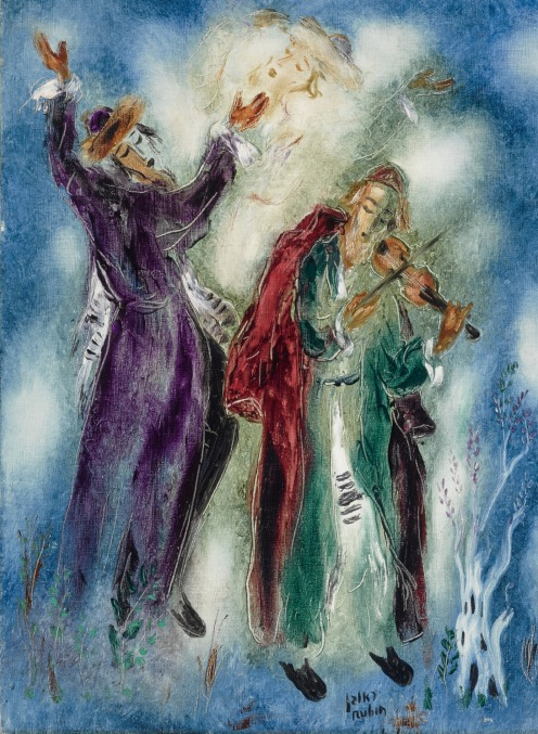 Reuven Rubin, (1893 - 1974), CHASSIDIC DANCERS (1968), Signed Rubin and in Hebrew (lower right), Oil on canvas, 29 by 21 1/4 in., (73.6 by 48.9 cm), Source: Sotheby's.