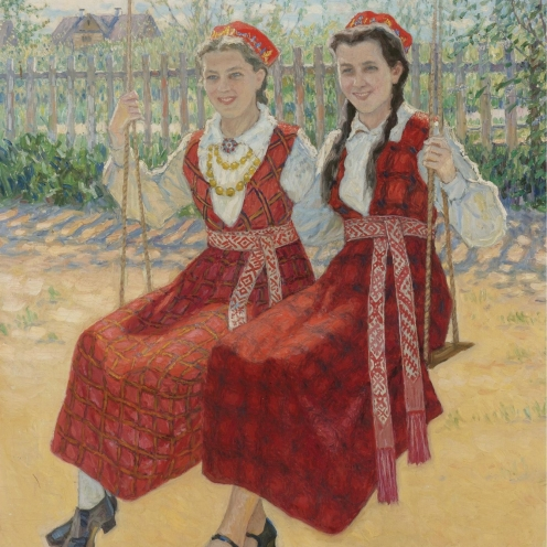 Nikolai Petrovich Bogdanov-Belsky (1868-1945), RUSSIAN, TWO GIRLS ON A SWING, 1940, signed N. Bogdanoff-Belsky (lower right), oil on canvas mounted on board, 33 3/4 by 27 1/2 in. or 85.5 by 70 cm., Source: Sotheby's