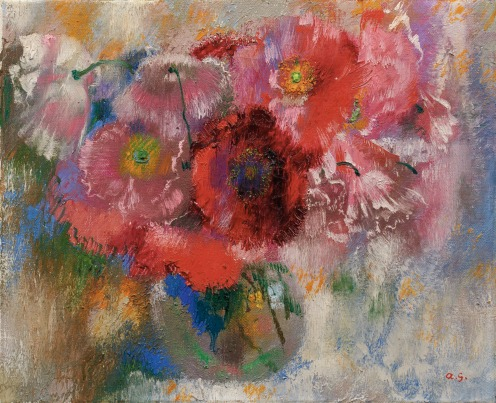 Augusto Giacometti (1877 - 1947), MOHN AUF GRAUEM GRUND,1932, Signed with the artist's initials lower right; Oil on canvas, 36 x 44 cm, Source: Sotheby's, Link: http://www.sothebys.com/en/auctions/ecatalogue/2018/schweizer-kunst-swiss-art-zh1806/lot.54.html