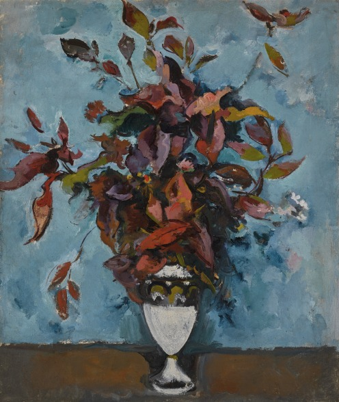 Alexander Vasilievich Kuprin (1880-1960), AUTUMN BOUQUET AGAINST BLUE BACKGROUND (KRYLATSKOE), 1923, bearing Vsekokhudozhnik and Soviet Academy of Arts exhibition labels on the stretcher, oil on canvas, 88.5cm by 75.5cm, 34 3/4 by 29 3/4 in., Source: Sotheby's, Link: http://www.sothebys.com/en/auctions/ecatalogue/2018/russian-pictures-l18115/lot.141.html