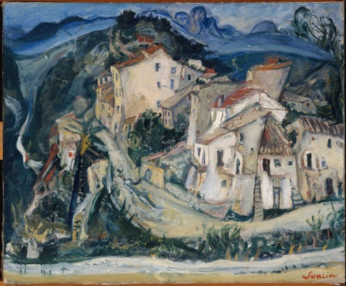 View of Cagnes (ca. 1924–25) by Chaim Soutine (French (born Lithuania), Smilovitchi 1893–1943 Paris), Oil on canvas, 23 3/4 × 28 7/8 in. (60.3 × 73.3 cm), Credit Line: The Mr. and Mrs. Klaus G. Perls Collection, 1997, The Met., Image Source: Wikimedia