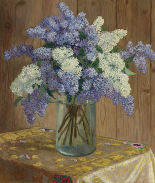 still life with lilacs_ bogdanov-belsky, nikola flowers plants sotheby's n08733lot62t7yen