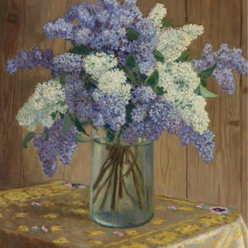 still life with lilacs_ bogdanov-belsky, nikola flowers plants sotheby's n08733lot62t7yen