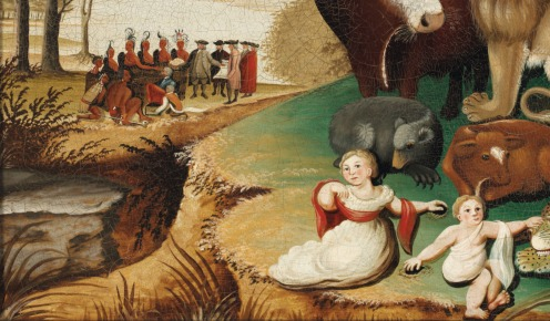 Edward Hicks (1780-1849), Peaceable Kingdom, in the original black painted and gilded pine frame; the reverse with label with transcription of Isaiah 11:6-9, oil on canvas, 17 ½ x 23 ½ in., Painted circa 1833, Source: Christie's, (detail).