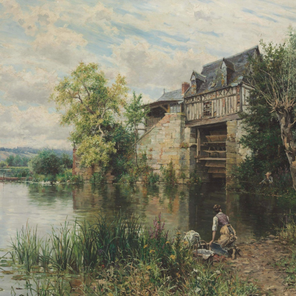 Louis Aston Knight (American, 1873-1948), The Old Mill, signed and inscribed 'Aston Knight/Paris' (lower right), oil on canvas, 35 1/8 x 46 in. (89.2 x 116.8 cm.), Source: Christie's, Link: https://www.christies.com/LotFinder/lot_details.aspx?intObjectID=5728972