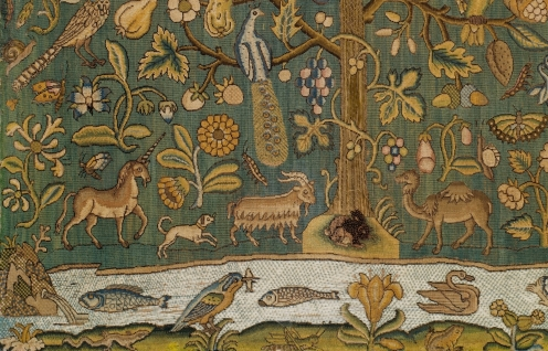 The Tree of Life, first half 17th century, British, Canvas worked with silk thread; tent, Gobelin, and couching stitches, Dimensions: H. 22 1/2 x W. 24 1/8 inches (57.2 x 61.3 cm);Classification: Textiles-Embroidered, Credit Line: Gift of Irwin Untermyer, 1964, Source: TheMet, Link: https://www.metmuseum.org/art/collection/search/229006, detail