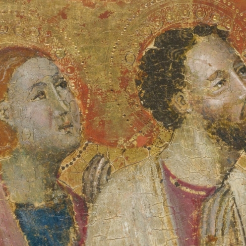 KNEELING SAINTS, Italian School, circa 1400, tempera on panel, gold ground, a fragment, unframed, 11 by 11 3/4 in.; 28 by 29.8 cm., Source: Sotheby's, Link: http://www.sothebys.com/en/auctions/ecatalogue/2013/old-master-and-19th-century-paintings-n09103/lot.403.html(detail).
