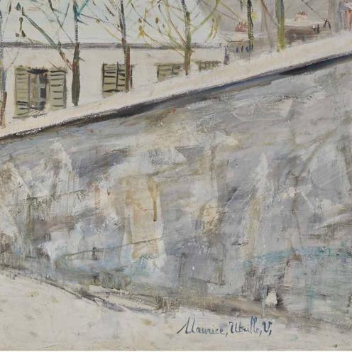 Maurice Utrillo (1883-1955), La rue du Mont-Cenis sous la neige, signé 'Maurice, Utrillo, V,' (en bas à droite) et situé '- Montmartre -(en bas à gauche), huile sur toile, 97 x 146 cm. Peint vers 1935, Source: Christie's.(detail).