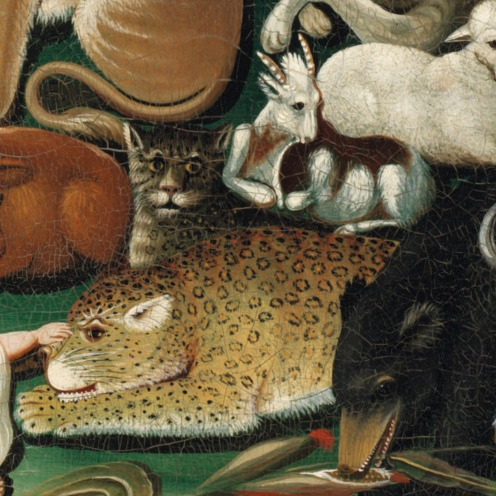 Edward Hicks (1780-1849), Peaceable Kingdom, in the original black painted and gilded pine frame; the reverse with label with transcription of Isaiah 11:6-9, oil on canvas, 17 ½ x 23 ½ in., Painted circa 1833, Source: Christie's,(detail).