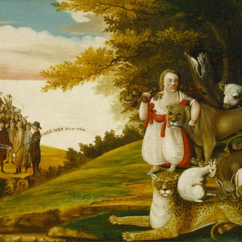 A Peaceable Kingdom with Quakers Bearing Banners (1829–30), Terra Foundation for American Art.