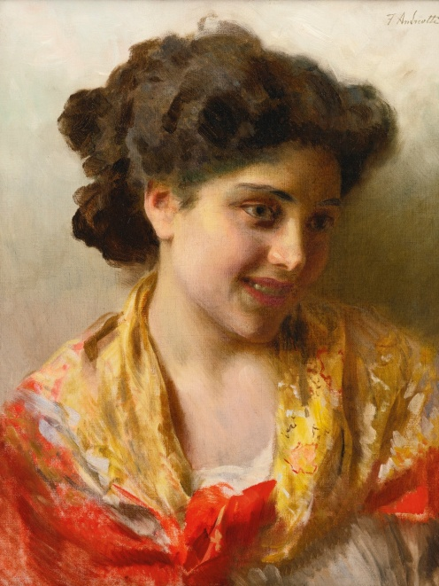 Gypsy Beauty, Federico Andreotti - Date unknown, Private collection, oil on canvas, Height: 18.5 cm (7.28 in.), Width: 14.4 cm (5.67 in.), Source: Wikimedia.