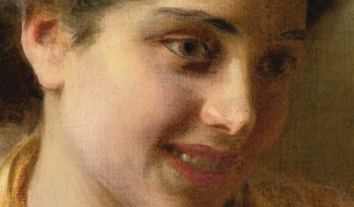 Gypsy Beauty, Federico Andreotti - Date unknown, Private collection, oil on canvas, Height: 18.5 cm (7.28 in.), Width: 14.4 cm (5.67 in.), Source: Wikimedia, detail.