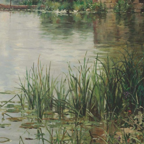 Louis Aston Knight (American, 1873-1948), The Old Mill, signed and inscribed 'Aston Knight/Paris' (lower right), oil on canvas, 35 1/8 x 46 in. (89.2 x 116.8 cm.), Source: Christie's, Link: https://www.christies.com/LotFinder/lot_details.aspx?intObjectID=5728972 (detail).