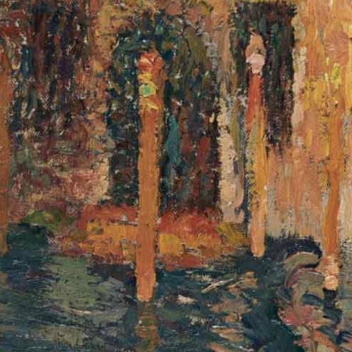 Henri Martin (1860-1943), Venise, palais et gondoliers sur le Grand Canal, signed 'Henri Martin' (lower right), oil on canvas, 26 ¾ x 37 ¾ in. (68 x 96 cm.), Source: Christie's (detail)