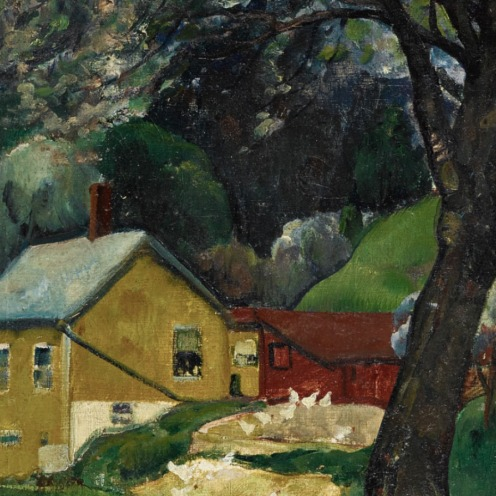 Leon Kroll, (1884 - 1974), APPLETREES, WOODSTOCK, oil on canvas, 26 by 32 inches, (66 by 81.3 cm), Painted in 1922., Source: Sotheby's, Link: http://www.sothebys.com/en/auctions/ecatalogue/2017/american-art-n09635/lot.78.html# (detail).