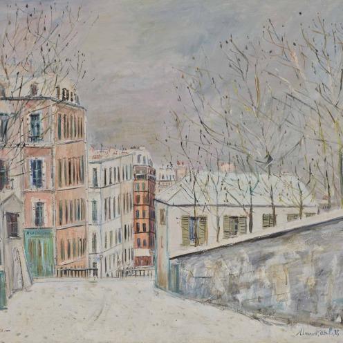 Maurice Utrillo (1883-1955), La rue du Mont-Cenis sous la neige, signé 'Maurice, Utrillo, V,' (en bas à droite) et situé '- Montmartre -(en bas à gauche), huile sur toile, 97 x 146 cm. Peint vers 1935, Source: Christie's