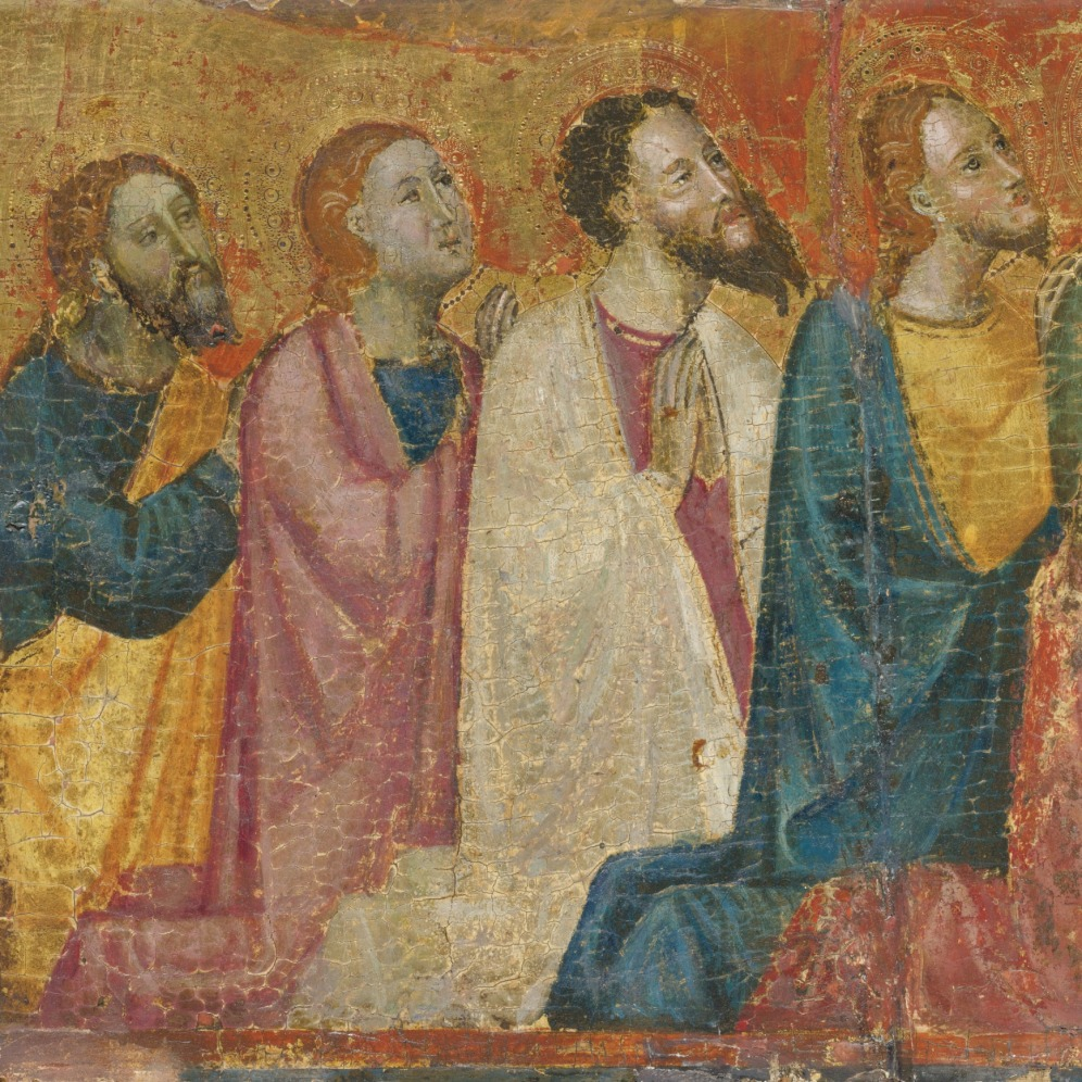 KNEELING SAINTS, Italian School, circa 1400, tempera on panel, gold ground, a fragment, unframed, 11 by 11 3/4 in.; 28 by 29.8 cm., Source: Sotheby's, Link: http://www.sothebys.com/en/auctions/ecatalogue/2013/old-master-and-19th-century-paintings-n09103/lot.403.html.