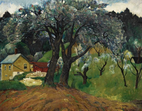 Leon Kroll, (1884 - 1974), APPLETREES, WOODSTOCK, oil on canvas, 26 by 32 inches, (66 by 81.3 cm), Painted in 1922., Source: Sotheby's, Link: http://www.sothebys.com/en/auctions/ecatalogue/2017/american-art-n09635/lot.78.html#