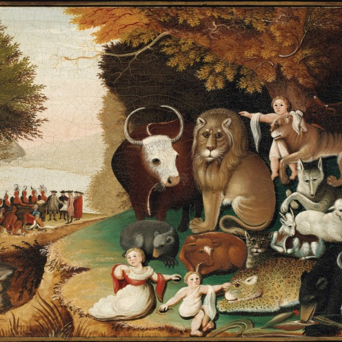 Current post: Edward Hicks (1780-1849), Peaceable Kingdom (1833-34), in the original black painted and gilded pine frame; the reverse with label with transcription of Isaiah 11:6-9, oil on canvas, 17 ½ x 23 ½ in., Painted circa 1833, Source: Christie's