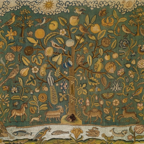The Tree of Life, first half 17th century, British, Canvas worked with silk thread; tent, Gobelin, and couching stitches, Dimensions: H. 22 1/2 x W. 24 1/8 inches (57.2 x 61.3 cm);Classification: Textiles-Embroidered, Credit Line: Gift of Irwin Untermyer, 1964, Source: TheMet, Link: https://www.metmuseum.org/art/collection/search/229006